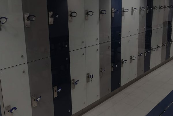 glass coated locker doors